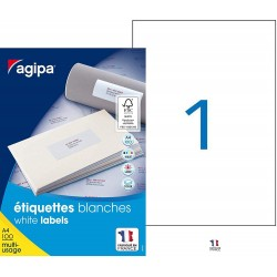 100 étiquettes blanches - A4 - 210x297mm - Multi-usage - Agipa 119004