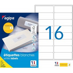 1600 Étiquettes Blanches - A4 - 99,1X33,9Mm - Multi-Usage - Agipa 118985