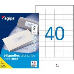 4000 Étiquettes Blanches - A4 - 48,5X25,4Mm - Multi-Usage - Agipa 118991