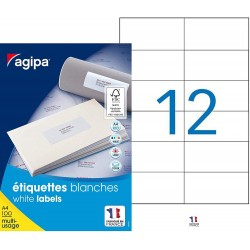 1200 Étiquettes Blanches - A4 - 105X49,39Mm - Multi-Usage - Agipa 101032