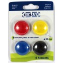 4 aimants colores 30mm - Ulmann