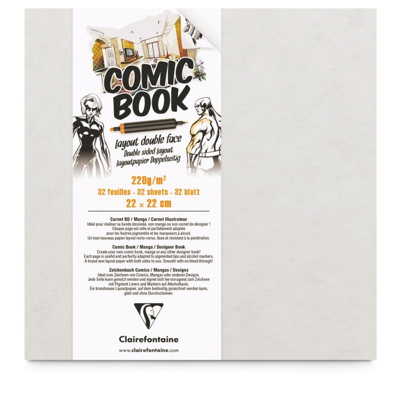 CARNET COMIC BOOK LAYOUT DOUBLE FACE 220G 22 X 22 CM 32 PAGES - CLAIREFONTAINE