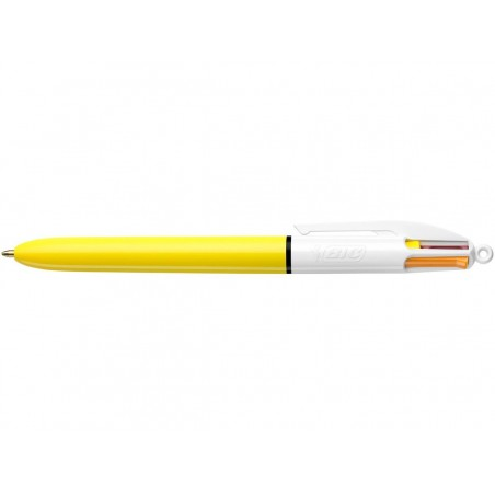 Stylo - 4 Couleurs - Pointe Moyenne - Bic - Corps Jaune
