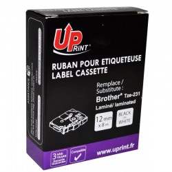 RUBAN UPRINT POUR BROTHER  12MM NOIR/BLANC TZE231