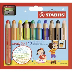 Etui De 10 Crayons De Couleur Multi-Surfaces Woody 3 En 1- Stabilo