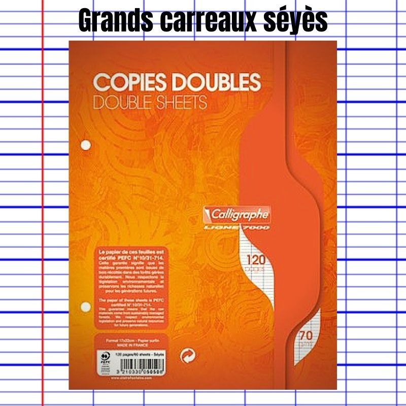 COPIES DOUBLES PERFORÉES 17 X 22 CM CALLIGRAPHE 7000 - CLAIREFONTAINE