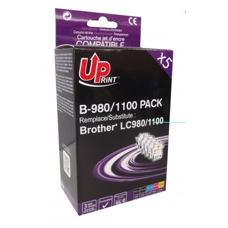 B-980/1100 2Bk/C/M/Y Pack 5 Cartouches Compatibles Avec Brother Lc-980/1100