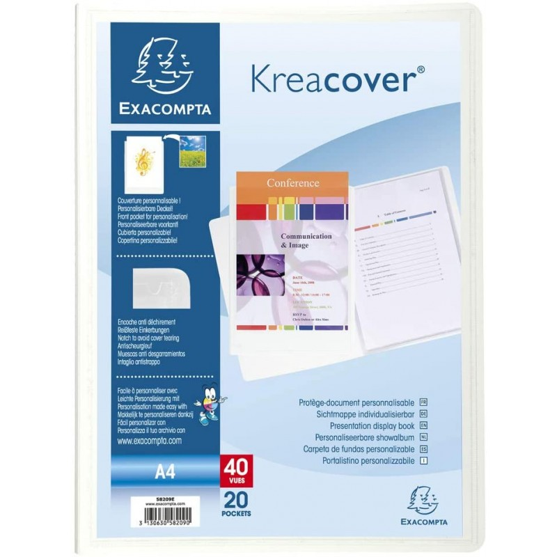 PROTEGE DOCUMENTS 40 VUES KREACOVER CONFERENCE BLANC 58209E - EXACOMPTA