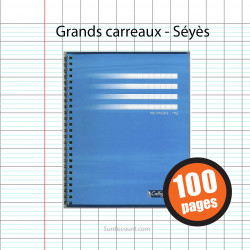 CAHIER SPIRALE 17X22 100P GRANDS CARREAUX SEYES 70G CALLIGRAPHE