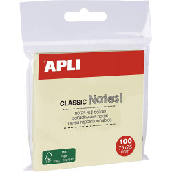 BLOC-NOTES ADHÉSIF REPOSITIONNABLE 100F 75X75 MM JAUNE APLI