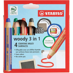 ETUI DE 4 CRAYONS MULTI SURFACES WOODY 3 EN 1 - STABILO