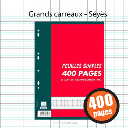 400 FEUILLETS MOBILES 400 PAGES A4 GRANDS CARREAUX SEYES 80G OXFORD