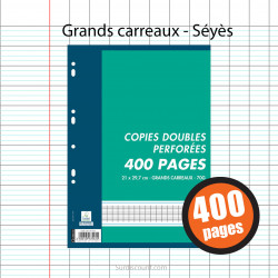 400 Copies Doubles Perforées 21X29,7 A4 Grands Carreaux Seyes 70G Oxford