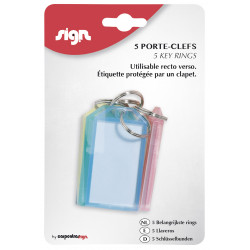 SACHET DE 5 PORTE-CLÉS A CLAPET - ASSORTIMENT - SIGN