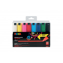 SET 8 MARQUEURS POINTE OGIVE ASSORTIS PC7M - POSCA