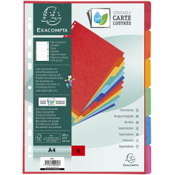 Intercalaires A4 - 6 Positions - Carte Lustrée 400G - Exacompta