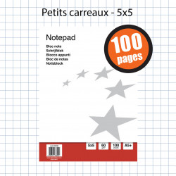 BLOC NOTES PETITS CARREAUX 14,8 x 21CM - A5 - 100 pages