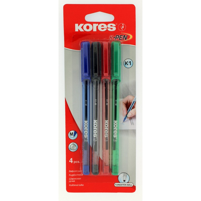 Lot de 4 stylos à bille - K-Pen - Pointe médium - Corps triangulaire - Kores