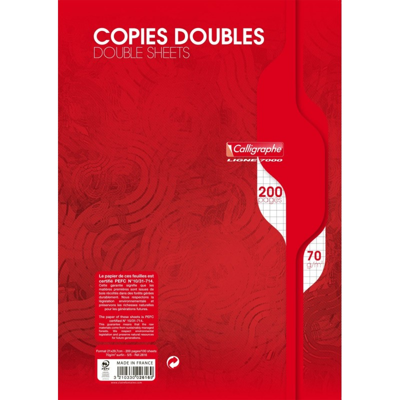 200 copies doubles - A4 21x29,7cm - 70g - Surfin - Petits carreaux 5x5 - Calligraphe