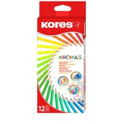 12 crayons couleur 18 cm - Corps triangulaire - Kores