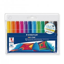 12 feutres extra large - Pointe de 3mm - Encre ultra lavable - Noris Club - Staedtler