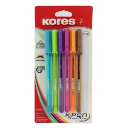 Lot de 6 stylos à bille - K-Pen - Pointe médium - Corps triangulaire - Kores