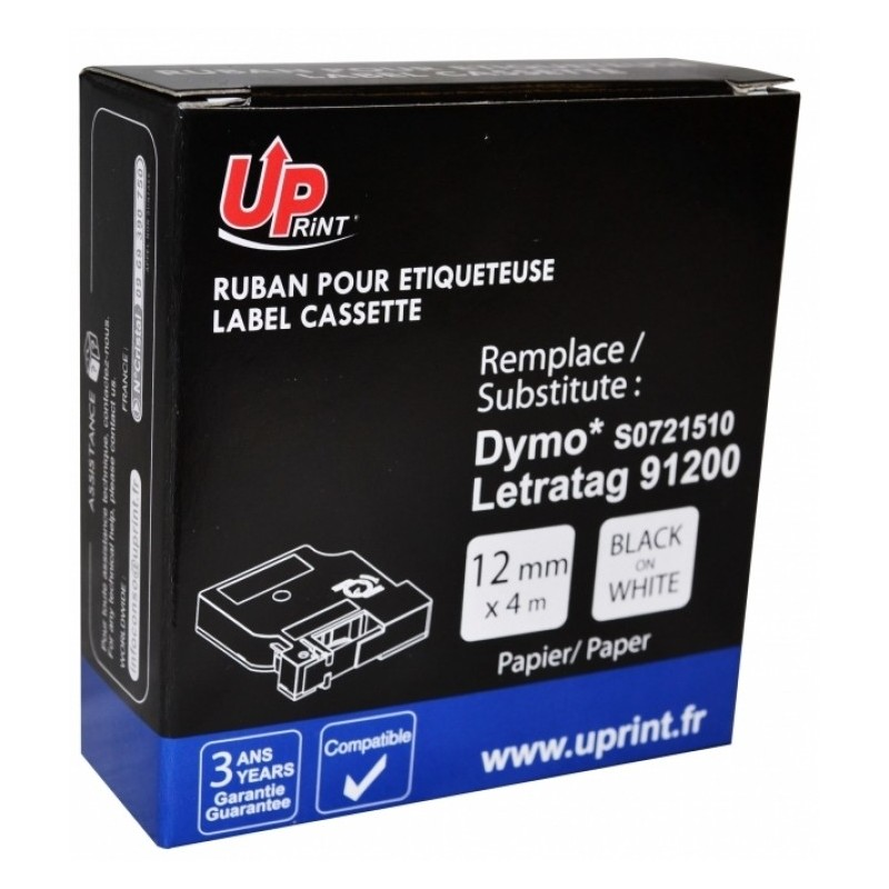 RUBAN UPP DYMO 12MMX4M BLACK ON WHITE