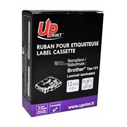 Ruban compatible pour Brother TZE-131 12mmX8m transparent noir sur blanc