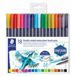 Set de 18 feutres aquarellables assortis avec double pointe pinceau - Staedtler