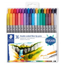 Set de 36 feutres de coloriage double pointe 3.0 mm et 0.5-0.8 mm assortis - Staedtler -