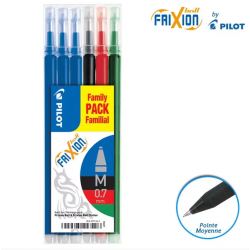 Lot de 6 recharges FriXion pointe moyenne 0,7mm assortiment Pilot