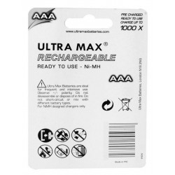 PILES RECHARGEABLES LR03 X4 - ULTRA MAX